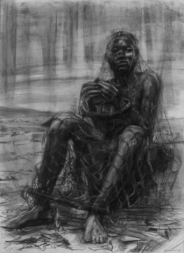 """Congo (?) Captive Awaiting Transport"" 30x22"" Charcoal 2000"