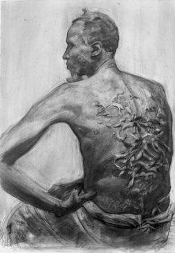 """Gordon, Slave who Escaped Slavery in Mississippi"" 30x22"" Graphite and Charcoal 2001"